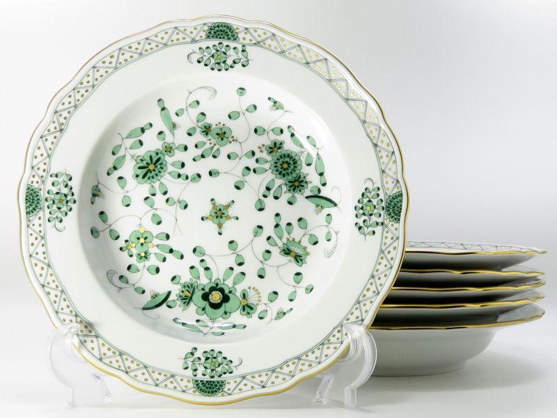 マイセン プレート■インドの華 リッチグリーン スーププレート 深皿 6枚セット 1級品 Meissen