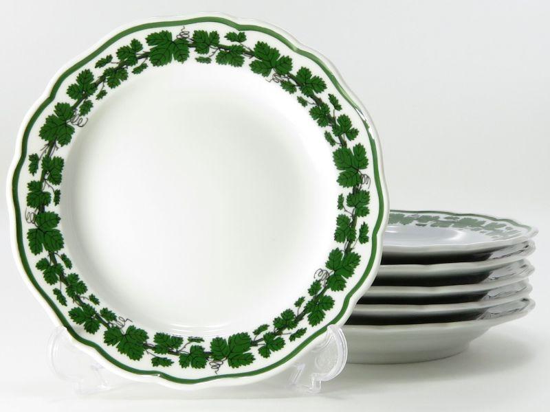 マイセン プレート■ヴァインリーフ ワインリーフ 葡萄の葉 ミニプレート 葉 グリーン 小皿 6枚セット
