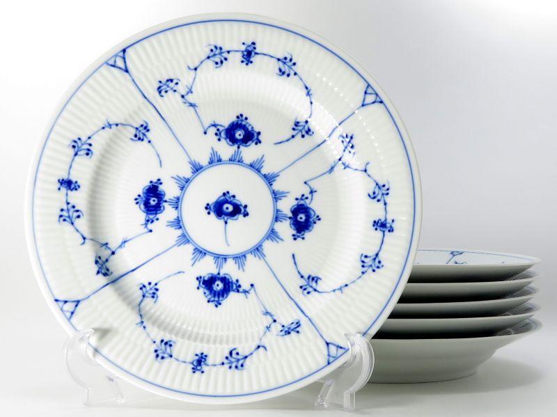 ロイヤルコペンハーゲン プレート■ブルーフルーテッド プレインレース ディナープレート 6枚セット 大皿 1級品 美品