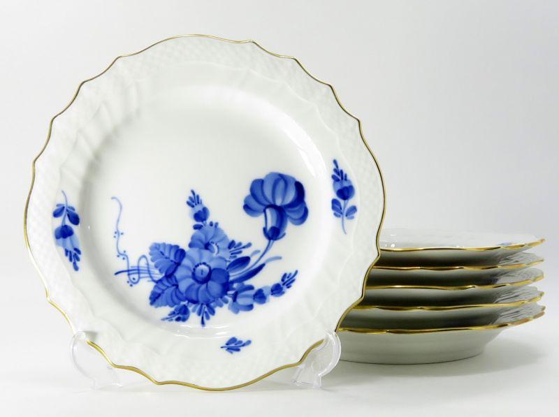 ロイヤルコペンハーゲン プレート■ブルーフラワー カーブ 金彩 サラダプレート 皿 6枚 1級品 2