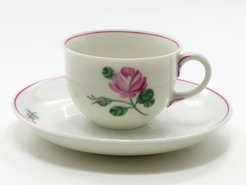 アウガルテン カップ&ソーサー■オールドウィンナーローズ ピンク デミタスC&S 1客 薔薇 バラ 花 6