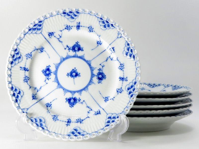 ロイヤルコペンハーゲン プレート■ブルーフルーテッド フルレース ランチプレート 6枚セット 皿 1級