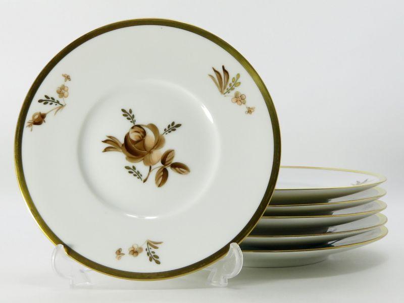 ロイヤルコペンハーゲン プレート■ブラウンローズ バラ デザートプレート 皿 6枚セット 1級品 1