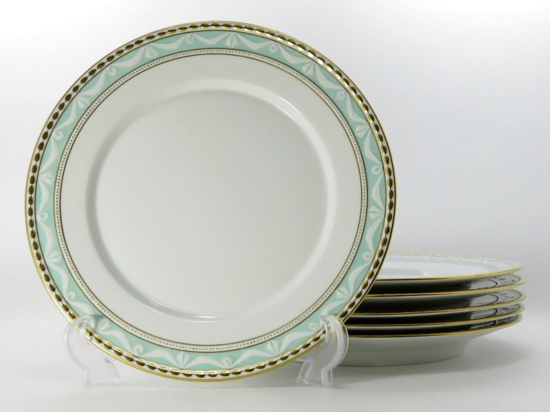 KPMベルリン プレート■ クアランド ミントグリーン ディナープレート 皿 6枚セット ベルリン王立磁器製陶所 1級品 KURAND