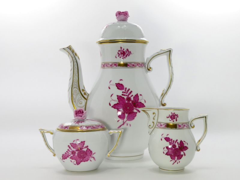 ヘレンド セット■アポニー ピンク コーヒーポット シュガーポット クリーマー 3点 1級品 HEREND