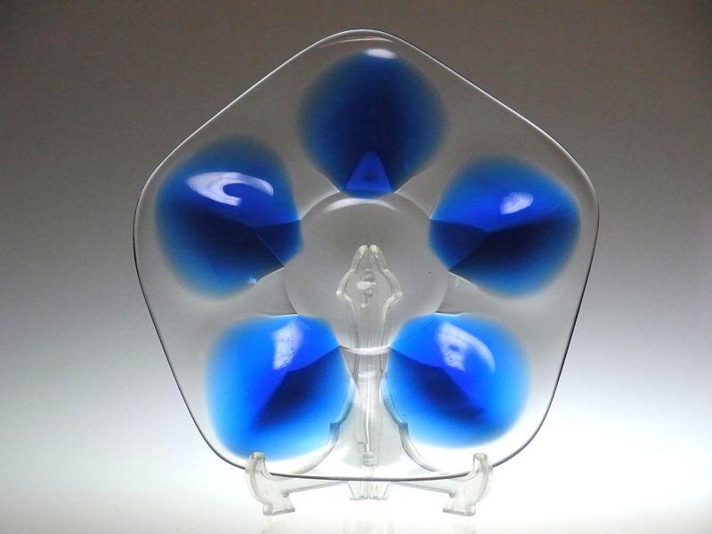 ラリック プレート ● クリスタル ディッシュ プレート ブルー 青 五角形