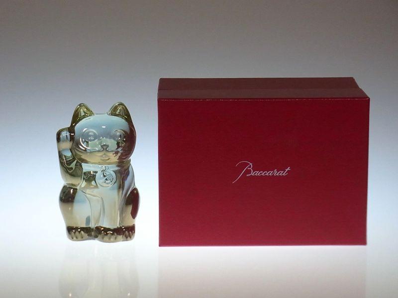 バカラ フィギュリン ● 招き猫 ゴールド 金 箱付 オブジェ 置物 クリスタル まねき猫
