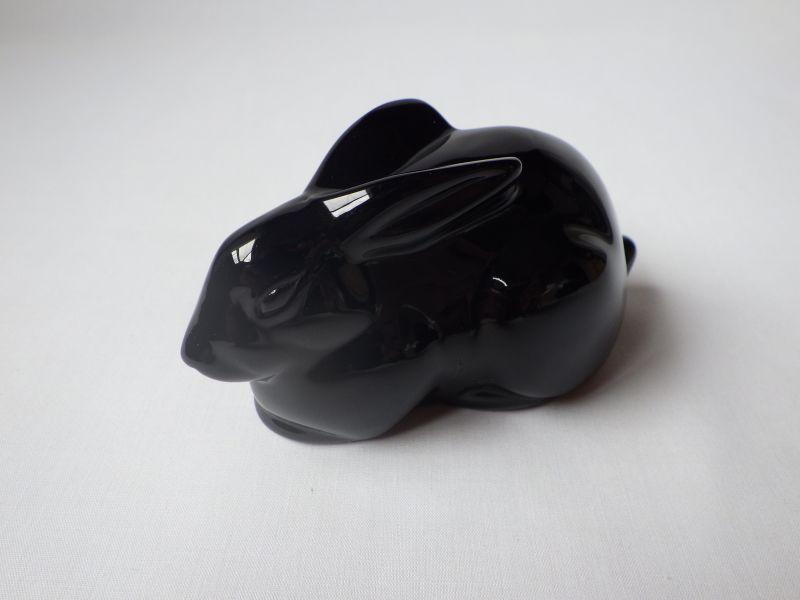 バカラ フィギュリン ● ウサギ 座り うさぎ ラビット 黒 ブラック クリスタル 置物 ペーパーウェイト オブジェ Rabbit