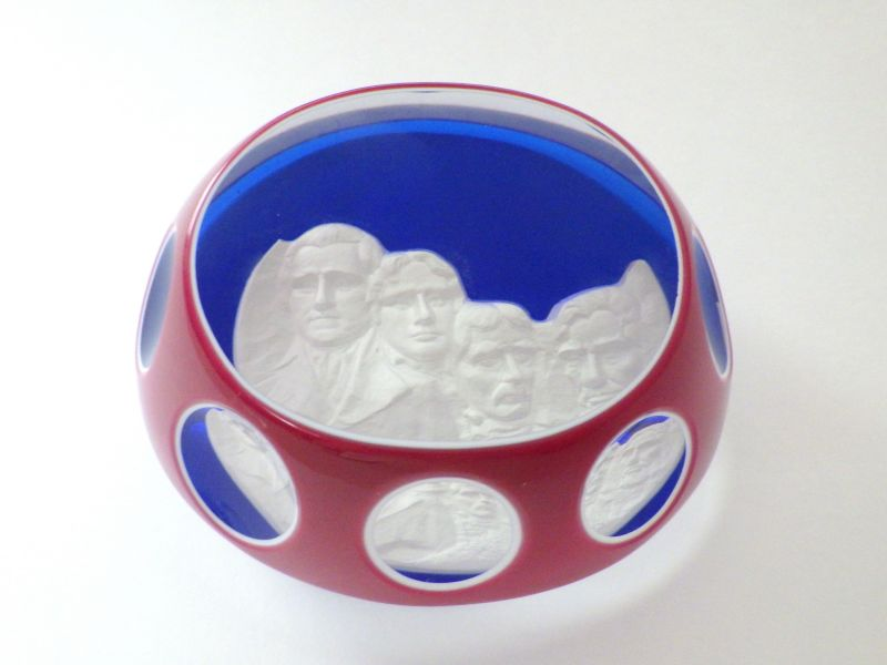 バカラ ペーパーウェイト ● 文鎮 クリスタル ブルー 1976 ラシュモア山 彫刻 大統領 限定品 希少品
