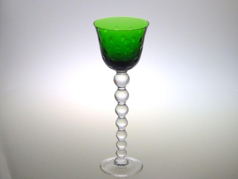 サンルイ グラス ● バブルス ホック ラインワイン グラス クリスタル 緑色 グリーン 24.5cm Bubbles