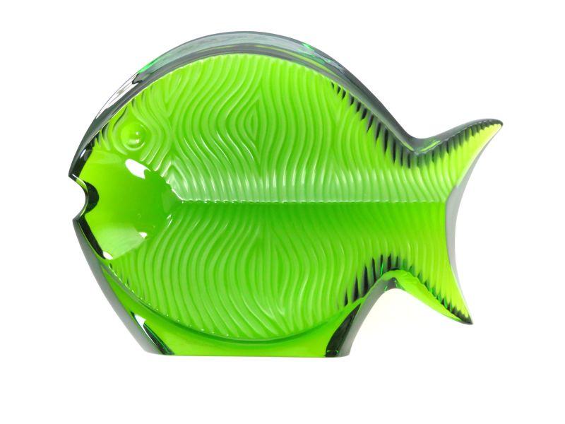 バカラ フィギュリン ● 置物 魚 緑 グリーン フィッシュ ペーパーウェイト クリスタル オブジェ オーナメント 希少品 レア Fish