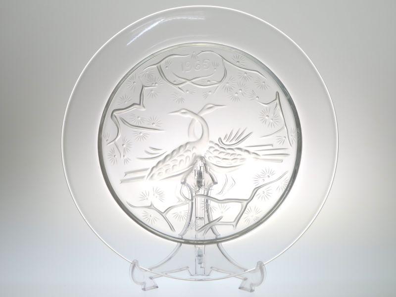 ラリック プレート ● イヤー プレート 2羽の鳥 フロステッド ヴィンテージ 1965年 飾り皿 希少 未使用 箱付