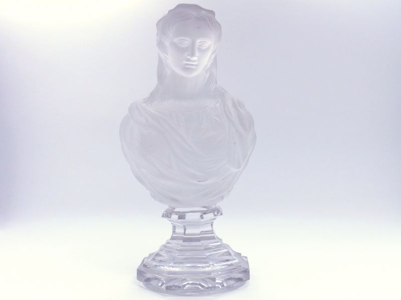 オールドバカラ オブジェ ● 聖母 マリア像 胸像 クリスタル オーナメント フロステッド ガラス マドンナ アンティーク フィギュリン 27cm