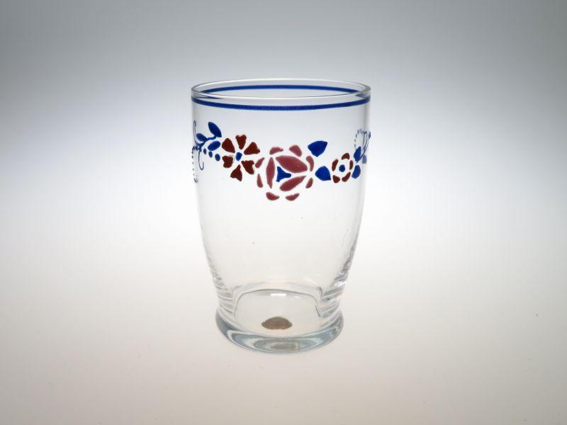 オールド バカラ グラス ● ジョルジュ シュバリエ ショット グラス シール付き 少し訳あり エナメル彩 フラワー 花 アンティーク 1 希少