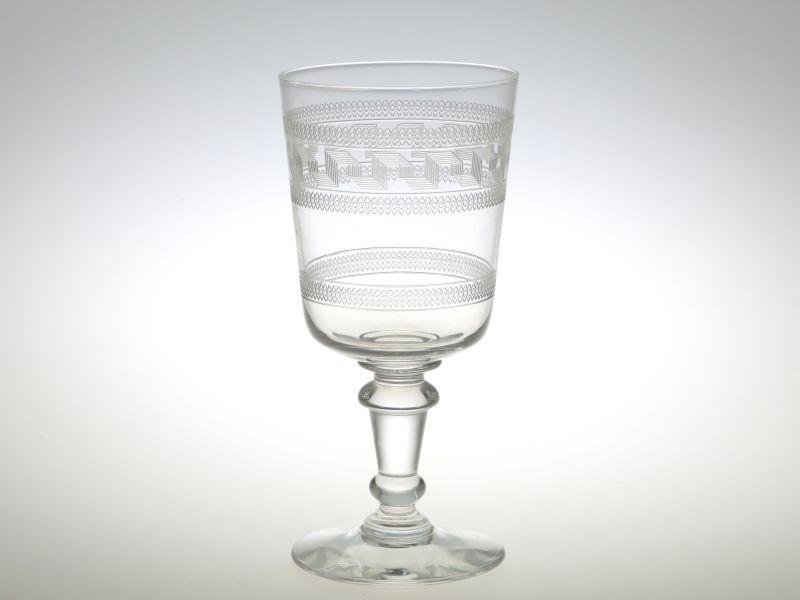 オールド バカラ グラス ● ギリシャ ワイン グラス 12cm エッチング アンティーク Greek