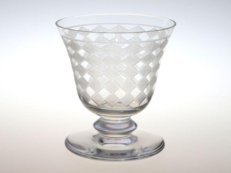 バカラ グラス ● キブロン 赤ワイン グラス 8cm エッチング アールデコ 市松模様 Quiberon