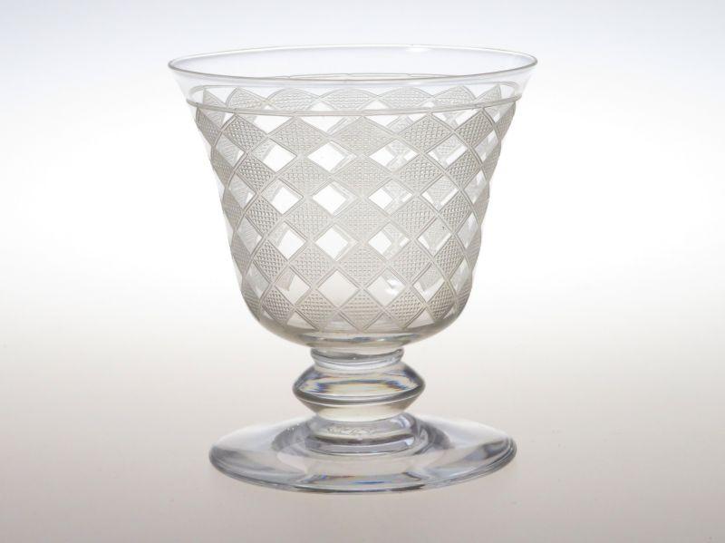 バカラ グラス ● キブロン 白ワイン グラス 7.5cm エッチング アールデコ 市松模様 Quiberon
