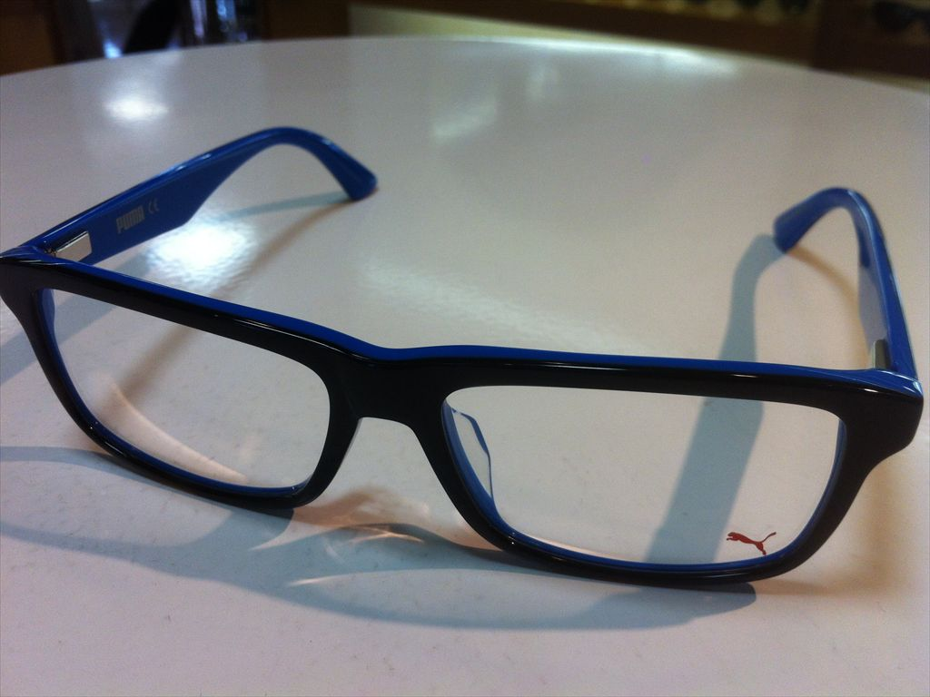 PUMA(プーマ)メガネフレーム(セルフレーム)有名ブランドメガネフレームPU00530A 004(ブラック/ブルー)55サイズ