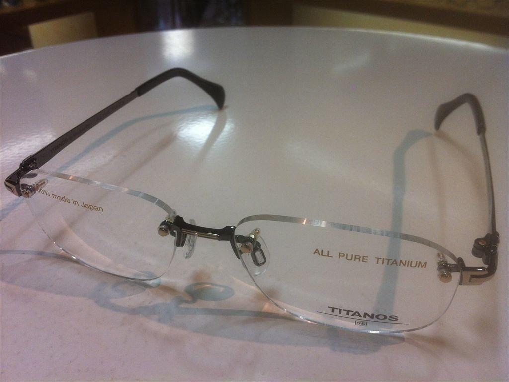 TITANOS(チタノス)T-1413 CB3GP(グレー/ゴールド) 55サイズメガネフレーム(ツーポイントフレーム)縁なしメガネ高品質日本製メガネフレーム紳士用ブランドメガネフレーム