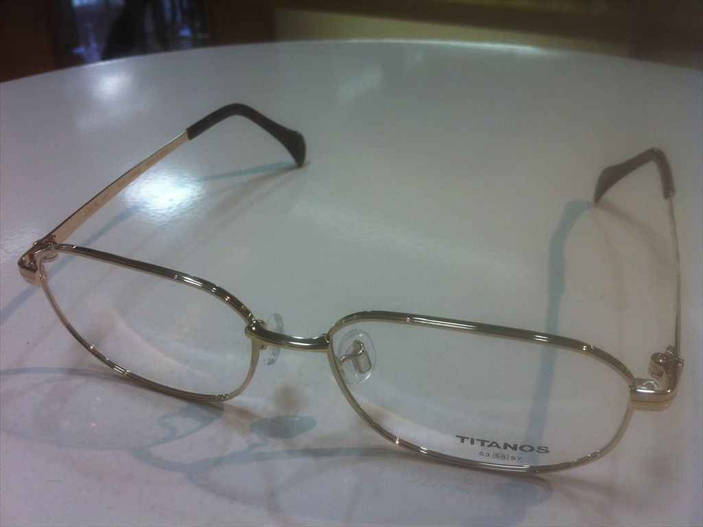 TITANOS(チタノス)T-1369 GPGP2(ゴールド)55サイズメガネフレーム(メタルフレーム)高品質日本製メガネフレーム