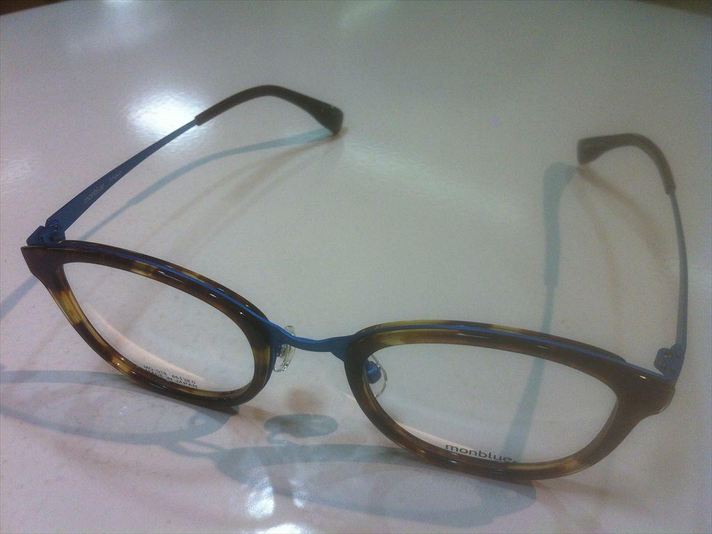 monblue(モンブルー)MO-018 6(デミブラウン/ブルー)46サイズメガネフレームセル メタル