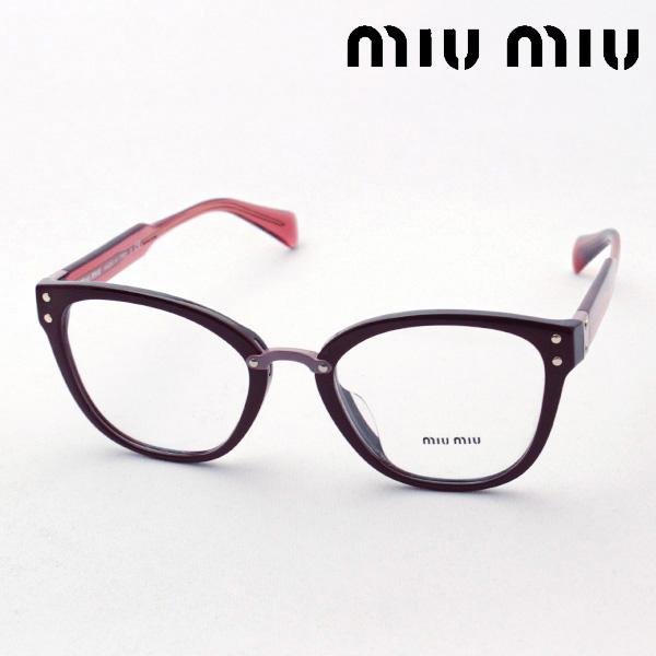 4月8日(月)23時59分終了 ほぼ全品ポイント20倍+2倍 【ミュウミュウ メガネ 正規販売店】 miumiu MU04QVA DHO1O1 伊達メガネ 度付き ブルーライト カット 眼鏡 miumiu NewModel Made In Italy スクエア