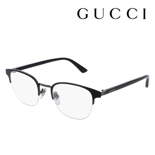 今夜23時59分終了 ほぼ全品がポイント15~20倍 【グッチ メガネ 正規販売店】 GUCCI アレッサンドロ・ミケーレデザイン GG0020O 001 伊達メガネ 度付き 眼鏡 RETRO WEB Made In Italy ハーフリム