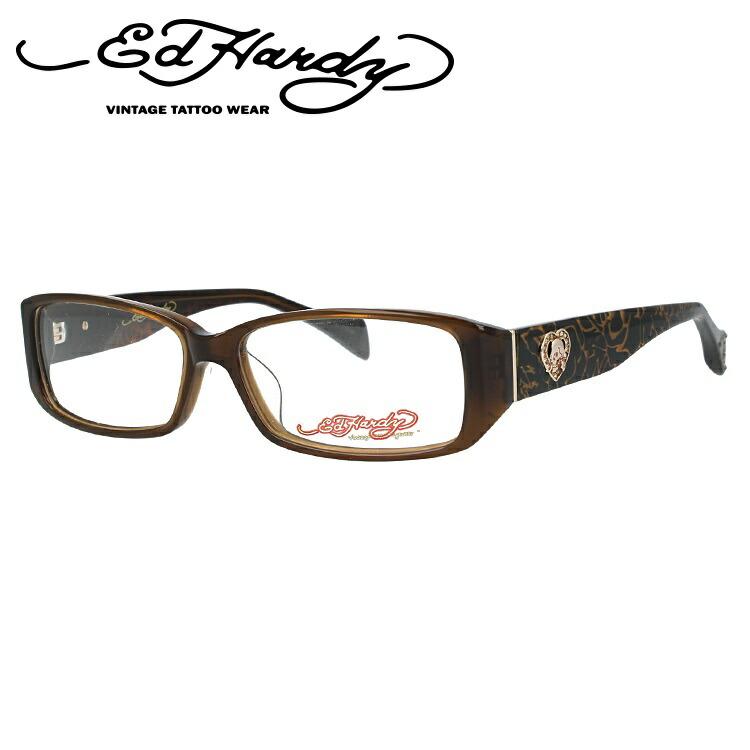 エドハーディー メガネ フレーム EHOA001 2 BROWN ブラウン スクエア メンズ 伊達メガネ 度付メガネ 度付き 新品 【EdHardy】