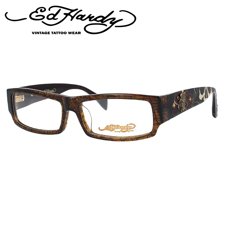 エドハーディー メガネ フレーム EHOA002 3 BROWN HORN ブラウンホーン スクエア メンズ 伊達メガネ 度付メガネ 度付き 新品 【EdHardy】