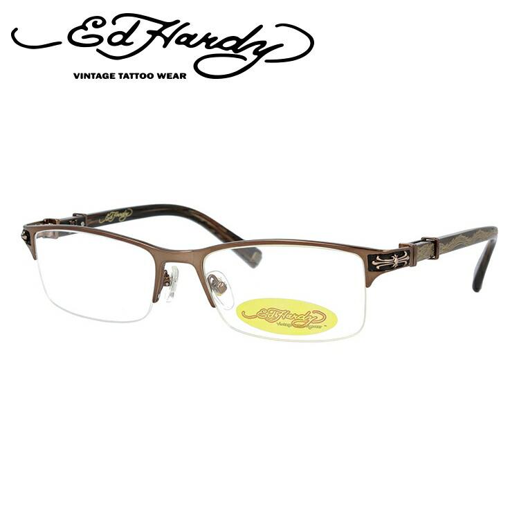メガネ 度付き 伊達 PCメガネ 老眼鏡 遠近両用 ミラー 調光 カラーレンズ 各種対応。エドハーディの眼鏡を自分仕様にカスタマイズ【ギフトラッピング無料】 EdHardy エドハーディー 伊達メガネ 眼鏡 EHOA010 2 BROWN GOLD ブラウンゴールド スクエア メンズ レディース 【スクエア型】