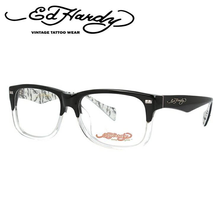 エドハーディー メガネ フレーム EHOA013 3 BLACK CR ブラッククリスタル ウェリントン メンズ 伊達メガネ 度付メガネ 度付き 新品 【EdHardy】