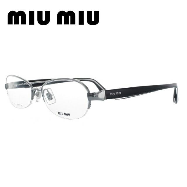メガネ 度付き 伊達 PCメガネ 老眼鏡 遠近両用 ミラー 調光 カラーレンズ 各種対応。ミュウミュウの眼鏡を自分仕様にカスタマイズ【ギフトラッピング無料】 miumiu ミュウミュウ 伊達メガネ 眼鏡 国内正規品 MU55IV 2AF1O1 54 シルバー/ブラック オーバル レディース