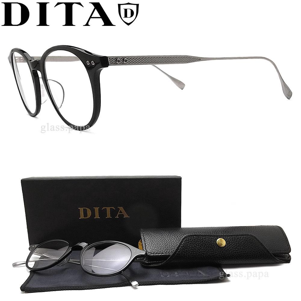 DITA ディータ メガネ フレーム DRX-2073-F-BLK-SLV サイズ47 【ASH】 眼鏡 クラシック 伊達メガネ 度付き ブラック×アンティークシルバー メンズ