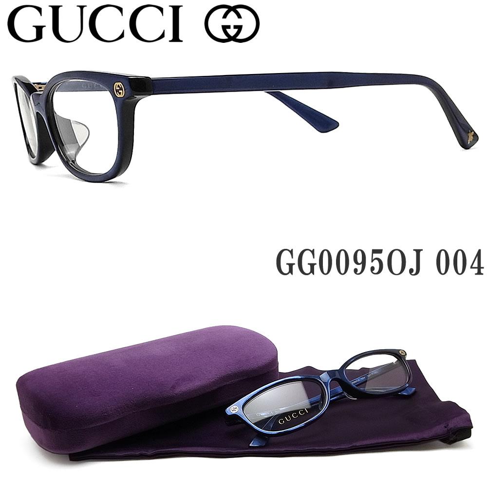 グッチ メガネ GUCCI GG0095OJ 004 眼鏡 ブランド 伊達メガネ 度付き ブルー系 レディース・メンズ セル