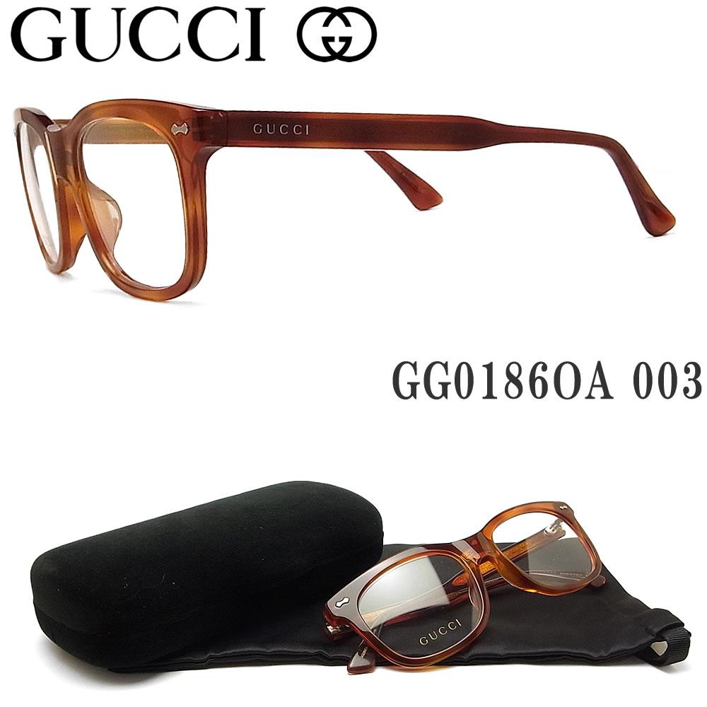 グッチ メガネ GUCCI GG0186OA 003 眼鏡 ブランド 伊達メガネ 度付き ブラウン系 レディース・メンズ セル