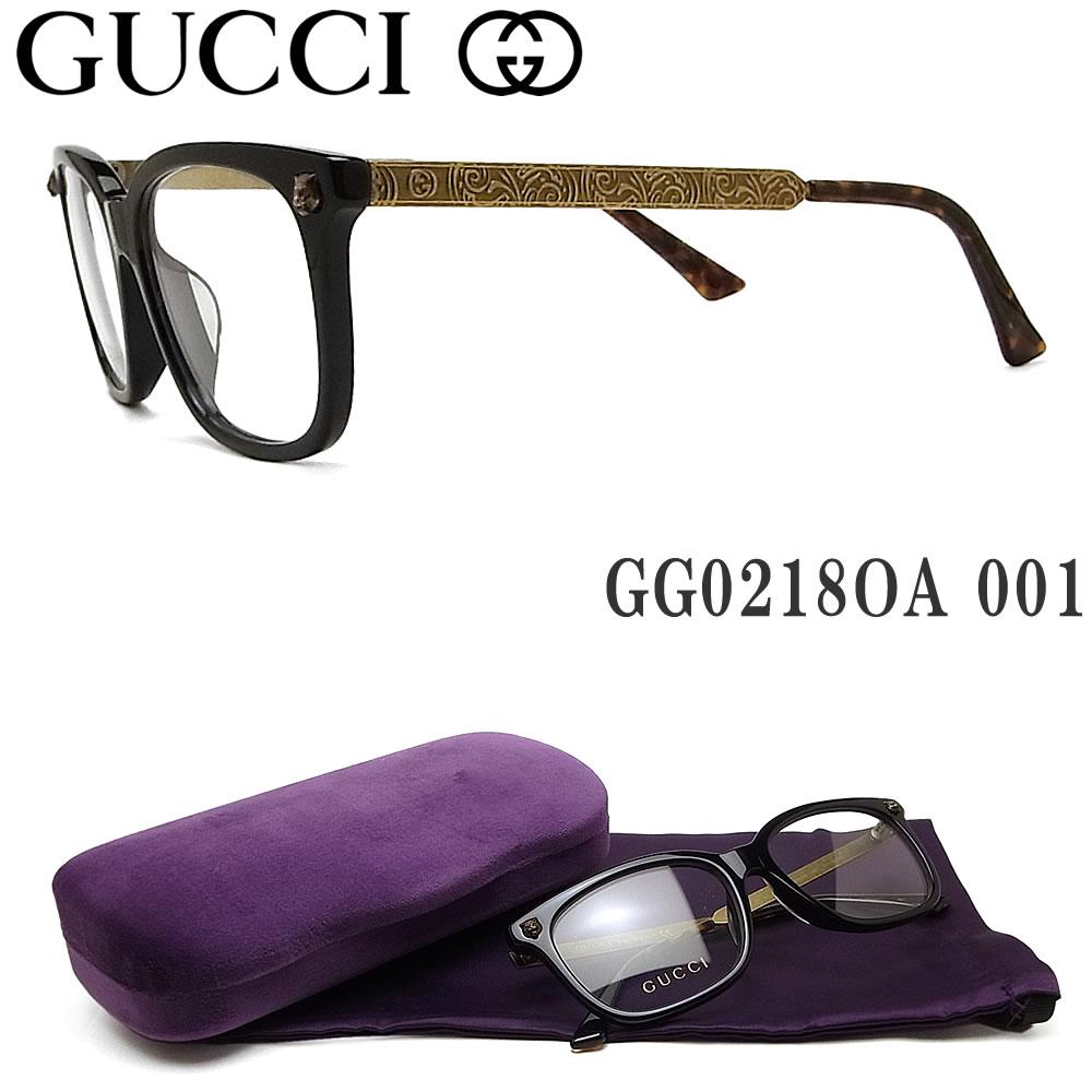 グッチ メガネ GUCCI GG0218OA 001 眼鏡 ブランド 伊達メガネ 度付き ブラック メンズ セル