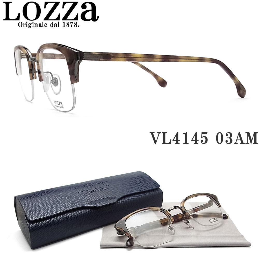 Lozza ロッツァ メガネ VL4145 03AM CASERTA1 眼鏡 クラシック 伊達メガネ 度付き ガンメタル×ハバナ メンズ・レディース 男性・女性