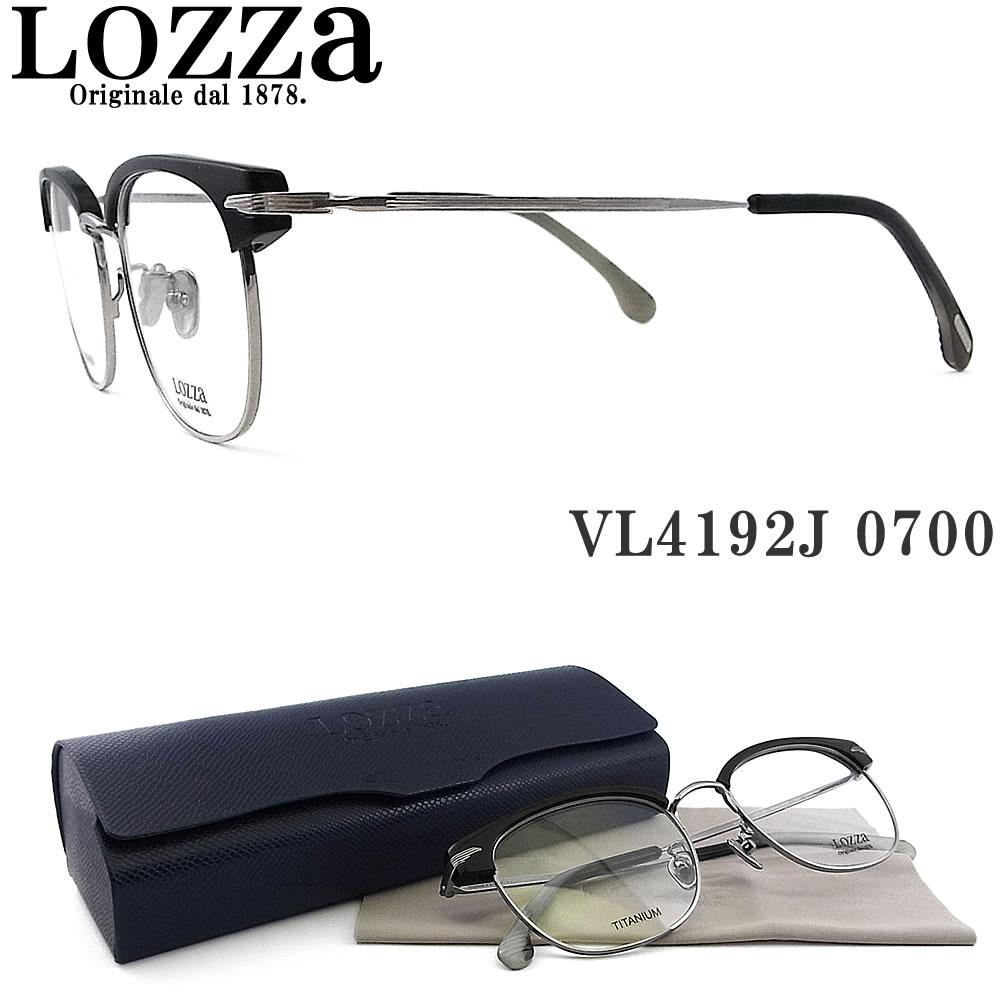 Lozza ロッツァ メガネ VL4192J 0700 BARI14 眼鏡 クラシック 伊達メガネ 度付き ブラック×グレー メンズ・レディース 男性・女性