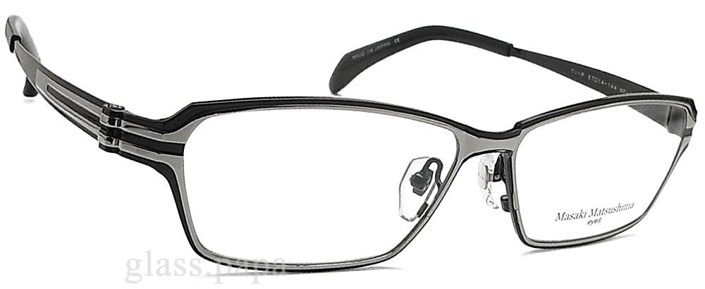 masakimatsushimamegane MF-1183 4眼镜名牌没镜片的眼镜度从属于的黑色钛人glasspapa
