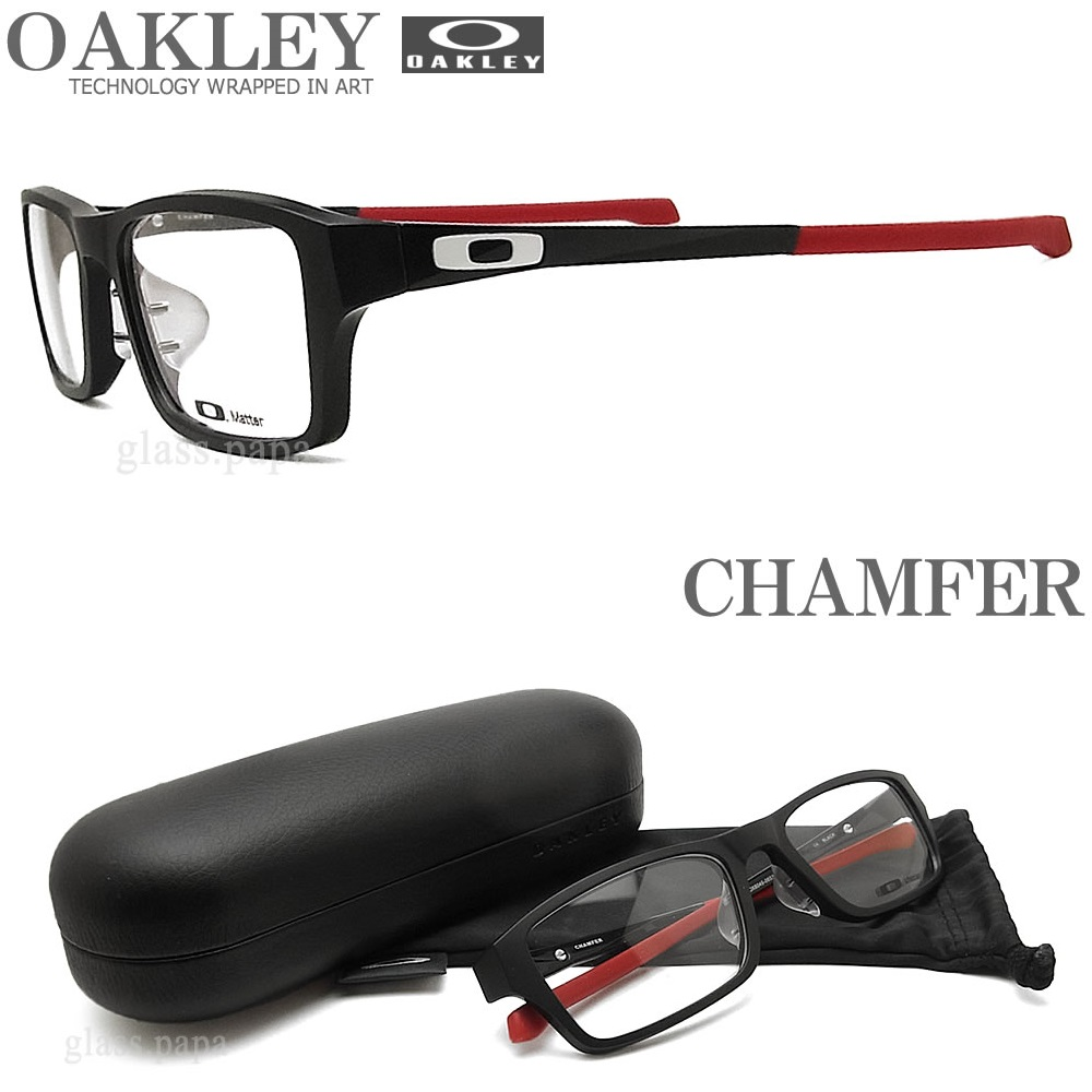 OAKLEY オークリー メガネフレーム [CHAMFER シャンファー] OX8045-0653 (サイズ53) 【送料無料・代引手数料無料】 眼鏡 ブランド スポーツ 伊達メガネ 度付き ブラック メンズ・レディース