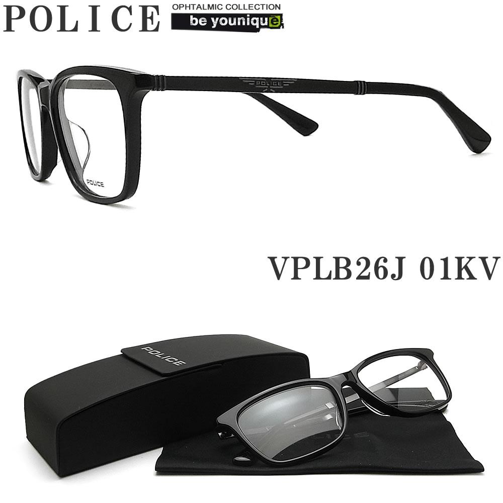 POLICE ポリス メガネフレーム VPLB26J-01KV 眼鏡 伊達メガネ 度付き 青色光カット パソコン用 メンズ・レディース 男性用・女性用 ブラック セル