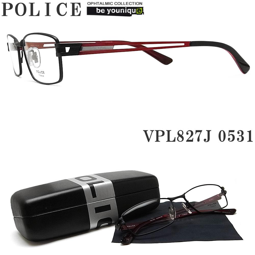 POLICE ポリス メガネフレーム VPL827J-0531 眼鏡 ブランド 伊達メガネ 度付き 青色光カット パソコン用 メンズ・レディース 男性用・女性用 マットブラック×レッド メタル
