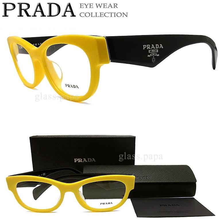 prada prada glasses frames vpr13qf tfa eyewear brand ita glasses with yellow black mens - Yellow Eyeglass Frames