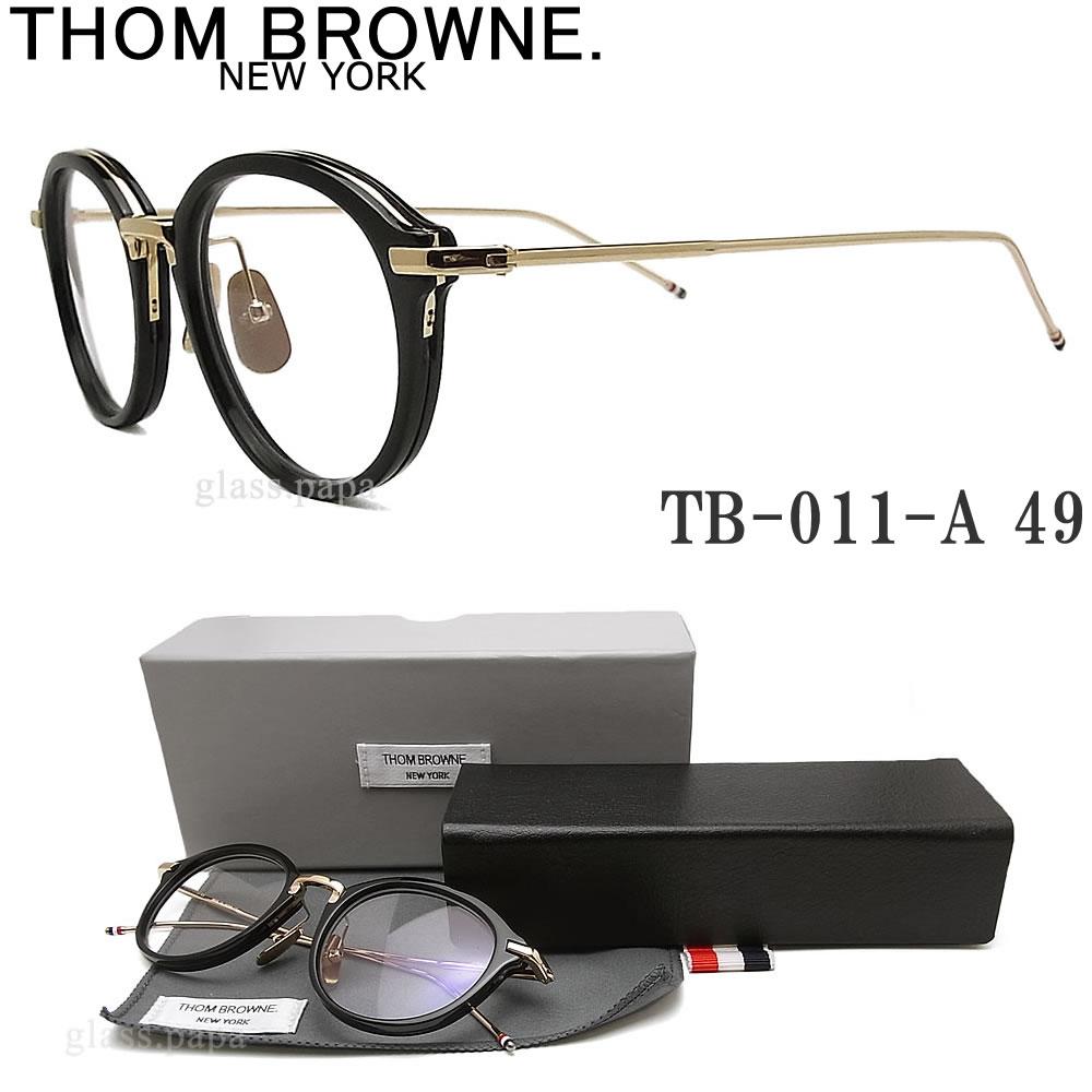 THOM BROWNE. トムブラウン メガネ フレーム TB-011A-49 眼鏡 クラシック 伊達メガネ 度付き ブラック メンズ