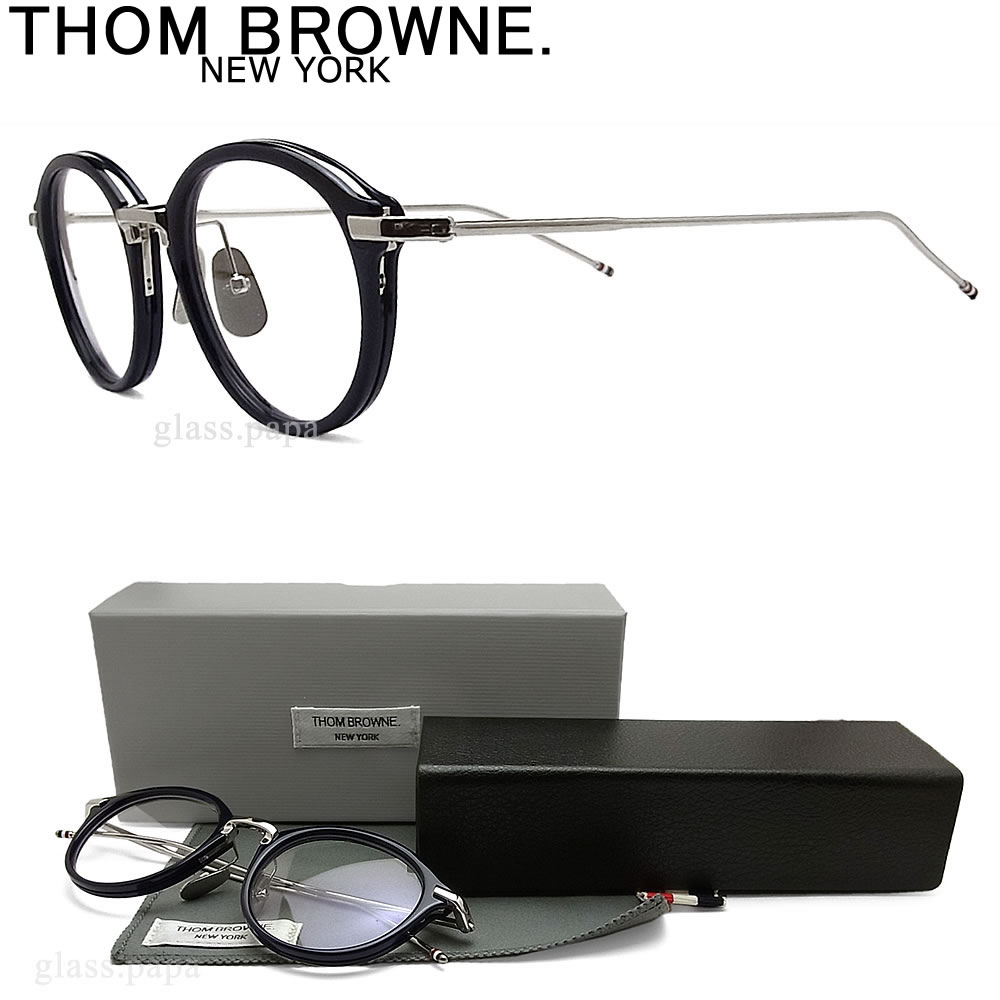 THOM BROWNE. トムブラウン メガネ フレーム TB-011-H-NVY-SLV-49 ラウンド 眼鏡 クラシック 伊達メガネ 度付き ネイビー メンズ