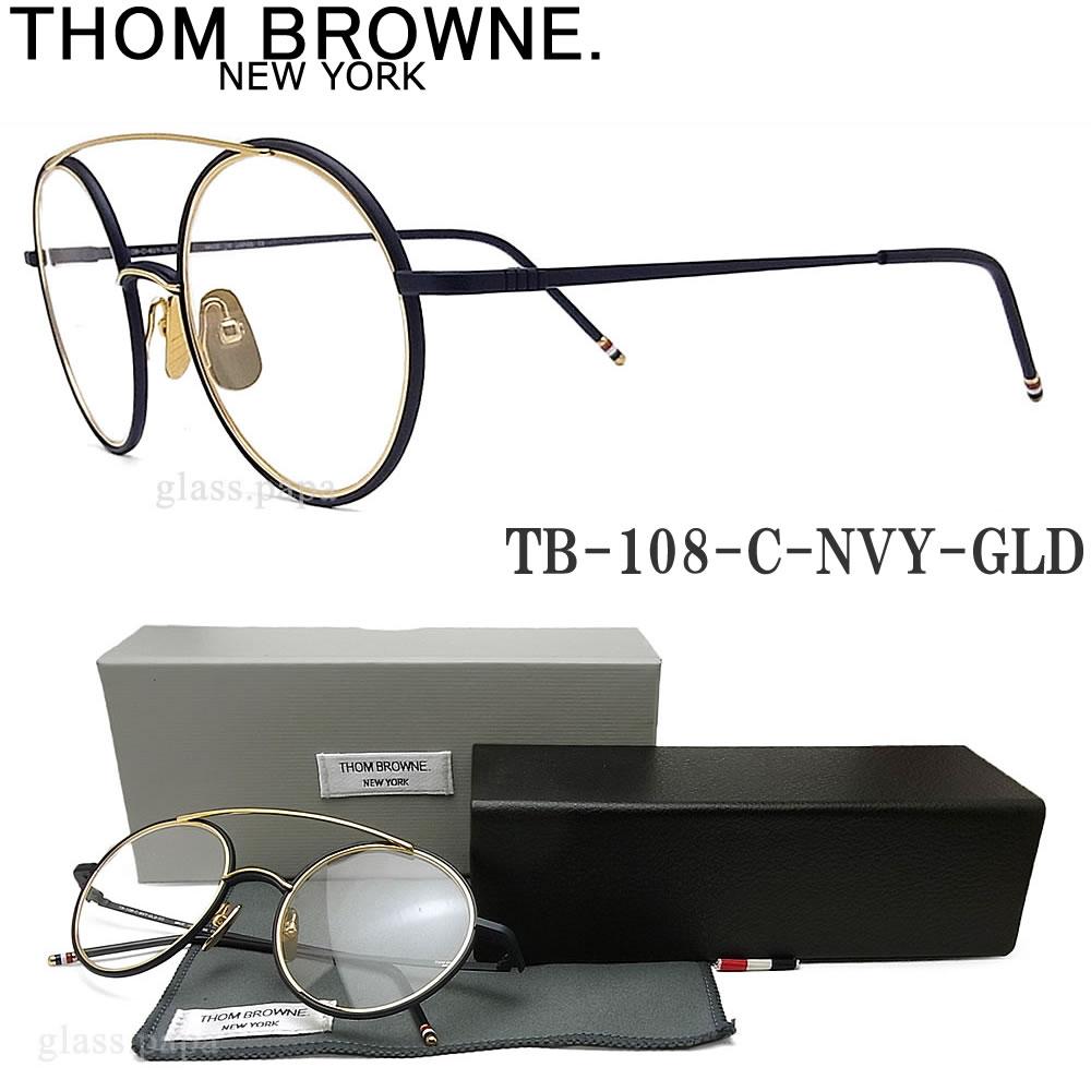 THOM BROWNE. トムブラウン メガネ フレーム TB-108-C-NVY-GLD ラウンド 眼鏡 クラシック 伊達メガネ 度付き マットネイビー×ゴールド メンズ
