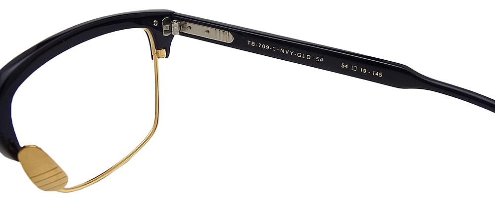 Tom Brown眼镜架子TB-709-C-NVY-GLD眼镜古典没镜片的眼镜度从属于的深蓝人glasspapa