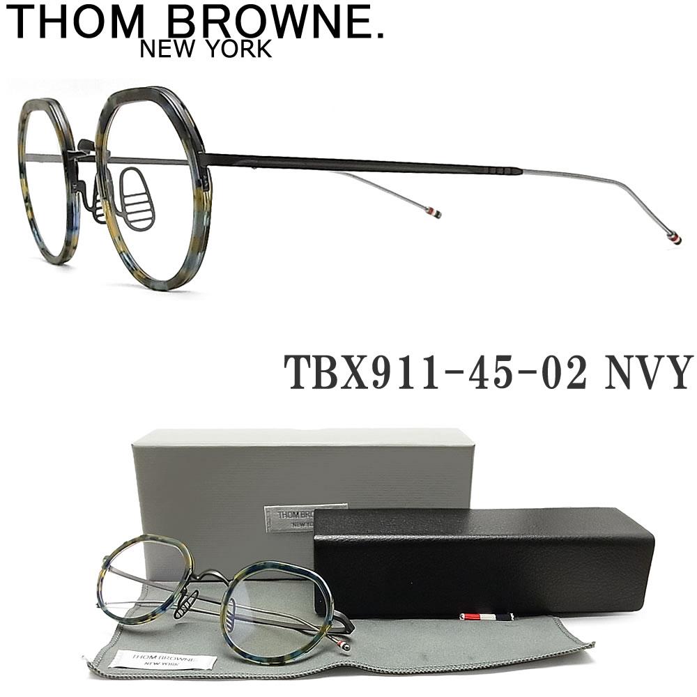 【ポイント5倍★クーポンも発行 お買い物マラソン】 THOM BROWNE. トムブラウン メガネ フレーム TBX911-45-02 NVY-BLK 眼鏡 クラシック 伊達メガネ 度付き ブルー系ハバナ メンズ・レディース