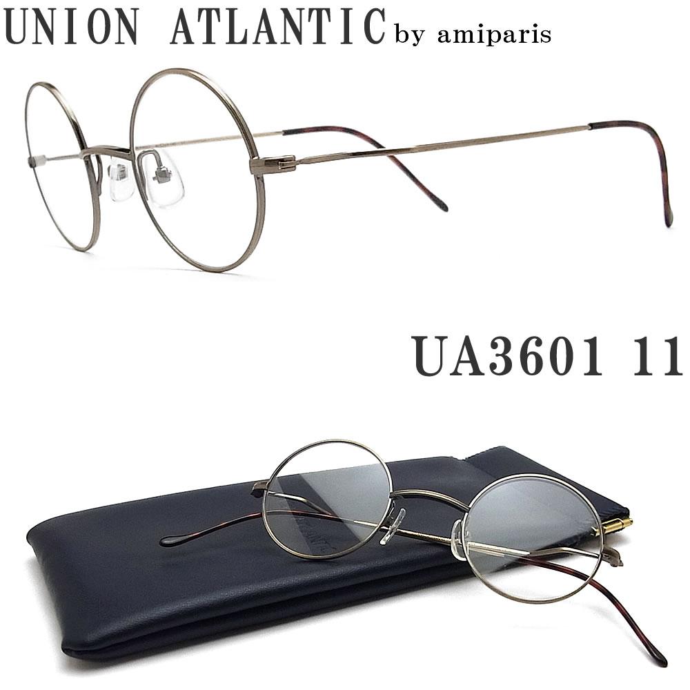 UNION ATLANTIC ユニオンアトランティック メガネ フレーム UA3601 11 サイズ43 ラウンド 丸眼鏡 クラシック 伊達メガネ 度付き アンティークゴールド メンズ・レディース 日本製