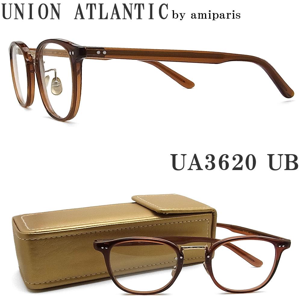 UNION ATLANTIC ユニオンアトランティック メガネ フレーム UA3620 UB セルロイド素材 クラシック 伊達メガネ 度付き ブラウン×ゴールド メンズ・レディース 日本製